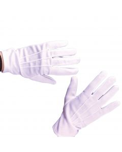 Fun World Theatrical Magician Santa Claus Snap Closure Gloves, One Size, White