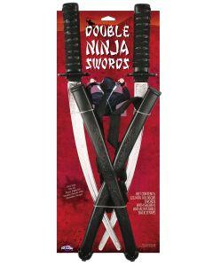 Fun World Dragon Design Double Ninja Swords Costume Accessory 2pc, 23in, Black