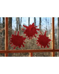 Fun World 3D Jelly Blood Splat Halloween Decor Window Cling, Red, 3 Pack