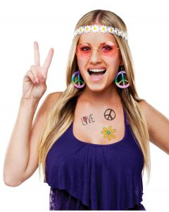 Fun World Halloween Pestel 60's Hippie 4pc Accessory Kit, One-Size, White