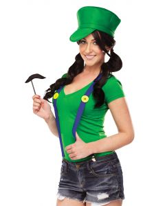 Fun World Luigi Inspired Costume 3pc Accessory Kit, One Size, Green Blue