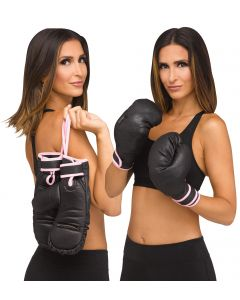 Fun World Halloween Boxing Gloves Lady Boss Costume Gloves, One-Size, Black Pink