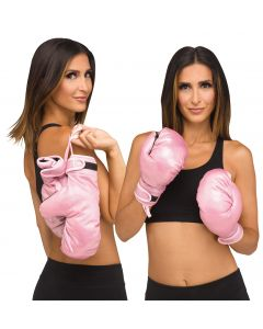 Fun World Halloween Boxing Gloves Lady Boss Costume Gloves, One-Size, Pink Black