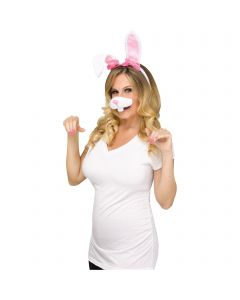 Bunny Selfie Character Kit 2pc Costume Accessory Set, One-Size, White Pink