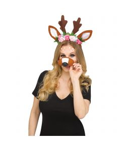 Faun Selfie Character Kit 2pc Costume Accessory Set, One-Size, Brown Pink Green