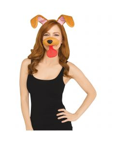 Puppy Selfie Character Kit 2pc Costume Accessory Set, One-Size, Brown Pink Red