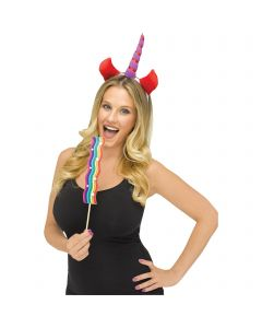 Unicorn Selfie Character 2pc Costume Accessory Set, One-Size, White Purple Red
