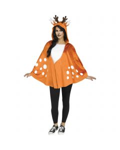 Fun World Fantasy Mystical Fawn Poncho Adult Costume, One-Size, Brown White