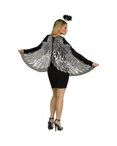 Dark Angel Fantasy Wings & Halo Costume Accessory Set, One-Size, Silver Black