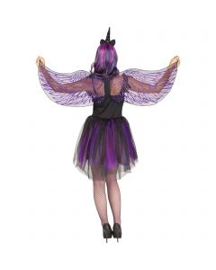 Fantasy Dark Unicorn Wings & Horn Costume Accessory Set, One-Size, Purple Black