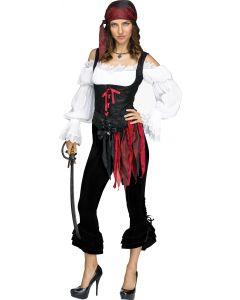Fun World Halloween Pirate Capris Costume Pants, Small/Medium, Black
