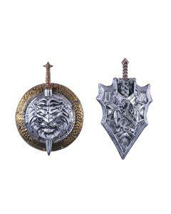 """Fun World Medieval Royal Game Roman 2pc Sword w Sheath, 24"""", Silver Black"""