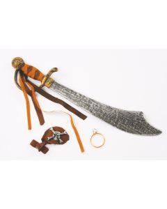 Fun World Halloween Caribbean Pirate Sword, Patch, & Earring Accessory Kit