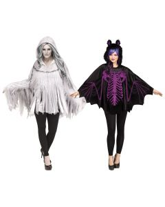 Deluxe Glitter Print Character Hooded Poncho Costume Top, One-Size 4-14