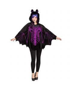 Deluxe Glitter Print Bat Hooded Poncho Costume Top, One-Size 4-14, Black Purple