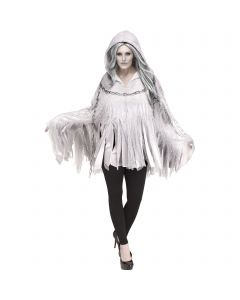 Deluxe Glitter Print Ghost Hooded Poncho Costume Top, One-Size 4-14, White Grey