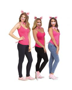 The Little Piglet Halloween 4pc Adult Costume Accessory Set, One-Size, Pink