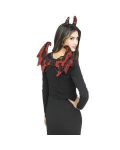 Devil Flip Sequin Mini Wing & Horns Costume Accessory Set, One-Size, Red Black