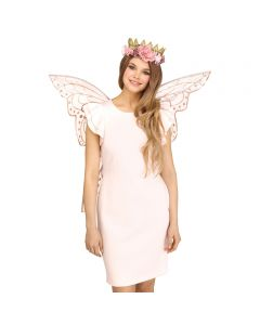Fantasy Light Fairy Sparkle Halloween Costume Wings, One-Size, Rose Gold