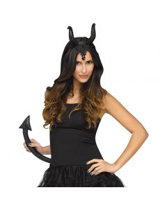 Fun World Halloween Sexy Horned Queen Ears & Tail 2pc Accessory Kit, Black