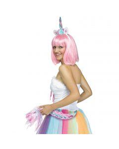 Fun World Halloween Sexy Unicorn Ears & Tail 2pc Accessory Kit, Blue Pink