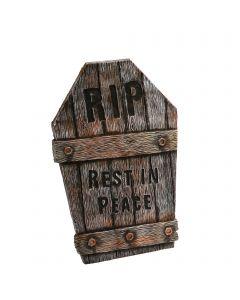 "Fun World Wood Looking Tombstone RIP Tombstone, 21.75"", Gray Brown"