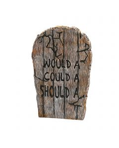"""Fun World Wood Looking Tombstone Would A Could A Tombstone, 21.75"""", Gray"""