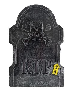 "Fun World LED Skull & Bones RIP Tombstone Outdoor Prop, 22"", Black White"