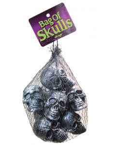 Fun World Metallic Skulls Halloween Decoration Pack, 2in, Black Silver, 10 Pack