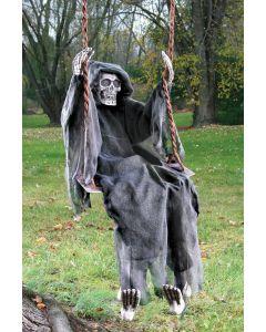 "Fun World Swinging Reaper Halloween Decoration Outdoor Prop, 60"", Black White"