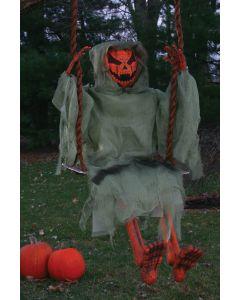 "Fun World Halloween Swinging Pumpkin Decoration Outdoor Prop, 36"", Orange Green"