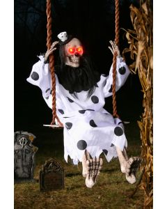 "Fun World Light Up Swinging Clown Decoration Outdoor Prop, 36"", Off-White Black"