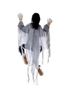Fun World Halloween Climbing Zombie Skeleton Decoration Prop, 5ft, White Black