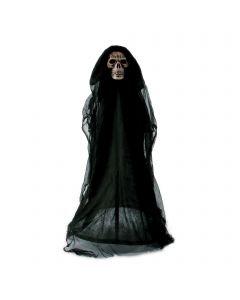 Fun World Light-Up Skeleton Reaper Lawn Walker Outdoor Decor, 3', Black White