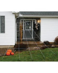 Fun World Giant Halloween Super Yard Spider Web 7pc Outdoor Prop, 12 ft, White