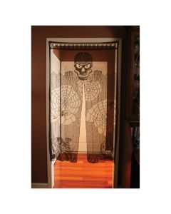 "Fun World Lace Skull Spiderwebs Hanging Door Cover, 36""x65"", Black"