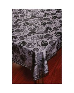 "Fun World Lace Tablecloth Spooky Skulls Fabric Table Cloth, 60"" x 84"", Black"