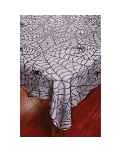 "Fun World Lace Tablecloth Spiderweb Fabric Table Cloth, 60"" x 84"", Black"