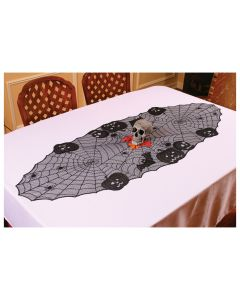 "Fun World Lace Pumpkin and Skull Table Runner Table Runner, 23""x63"", Black"