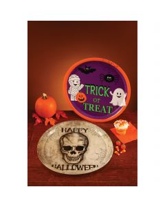 "Fun World Round Skull Happy Halloween Tray Serving Tray, 13.75"", Gray Black"