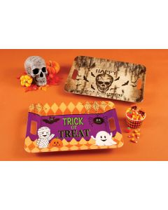 "Fun World Large Trick or Treat Party Serving Platter, 15.5"" x 11"", Orange Purple"
