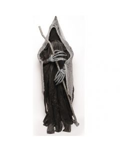 Deluxe 6ft Tall Haunted House Reaper & Staff Halloween Prop w Stand, Black Grey
