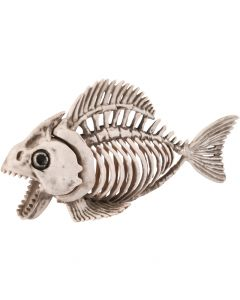 "Halloween Spooky Skeleton Piranha Fish Decoration Prop, 9.5"", Beige Grey"