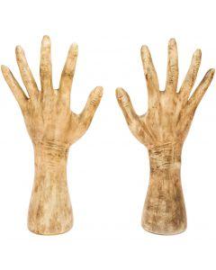 """Fun World Halloween Grave Breaker Hands 2pc Decoration Prop, 13"""", Beige Grey"""