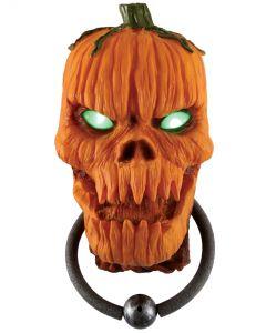 """Fun World Animated Pumpkin Door Knocker Outdoor Prop, 15"""", Orange Green"""