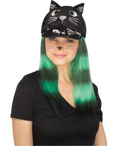 Fun World Cat Sequin Halloween Animal Baseball Cap Costume Hat, One-Size, Black