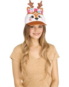 Fawn Deer Sequin Halloween Animal Baseball Costume Hat, One-Size, Brown White