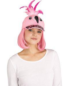 Fun World Flamingo Sequin Halloween Animal Baseball Costume Hat, One-Size, Pink