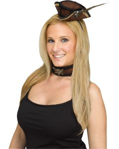 Victorian Pirate Mini Hat & Choker Adult Costume Accessory Set, One-Size, Brown