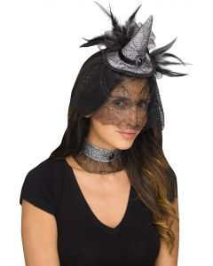 Witchy Witch Mini Hat & Choker Costume Accessory Set, One-Size, Black Grey